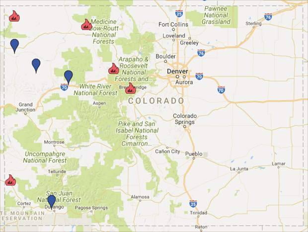Map Of Current Colorado Wildfires Wildfires currently consuming more than 33,000 acres across
