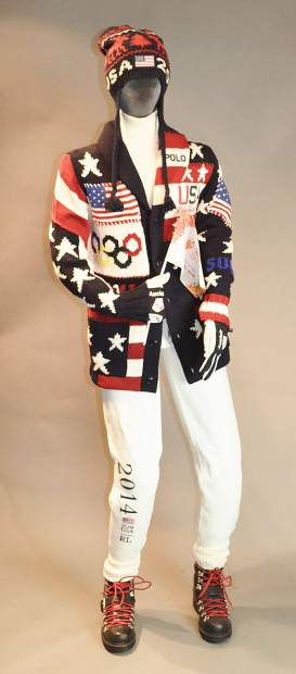 Designed by Ralph Lauren, Team USA's uniforms featured a patchwork cardigan emblazoned with stars, stripes and the Olympic rings, with all of the pieces produced in the United States. For a hint of nostalgia, the cardigan was paired with a cream turtleneck sweater, white fleece athletic pants and black leather boots with red laces.