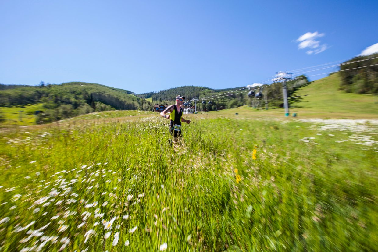 Runners race in the third and final section of the Xterra Beaver Creek Saturday, July 15, in Beaver Creek.