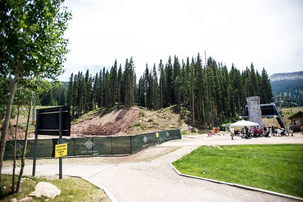 The base area where tree removal took place on Friday for the alpine coaster going in near Elk Camp in Snowmass.