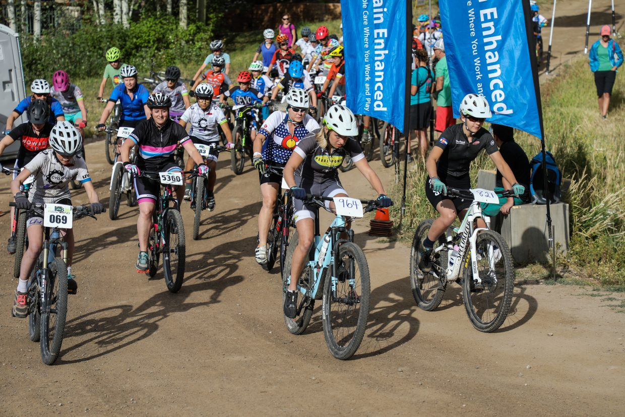 Riders take off from the start of the Beaver Creek Blast through the Vail Recreation District Wednesday, Aug. 23, in Beaver Creek.
