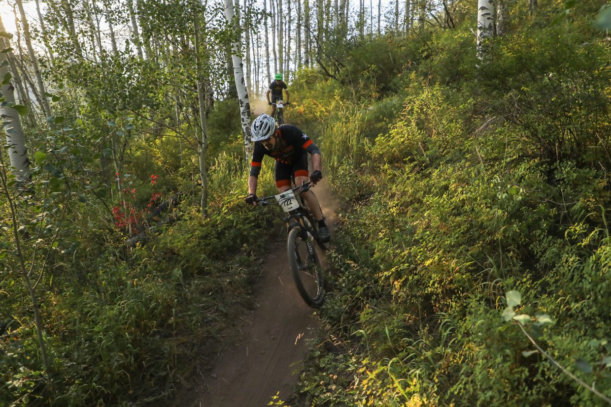 Riders make their way down Aspen Alley Trail during the Beaver Creek Blast through the Vail Recreation District Wednesday, Aug. 23, in Beaver Creek.