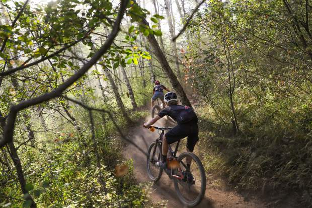 Riders zig and zag down Aspen Alley Trail during the Vail Recreation District's Beaver Creek Blast Wednesday in Beaver Creek. The long course was 16 miles and had 3,600 feet of elevation gain.