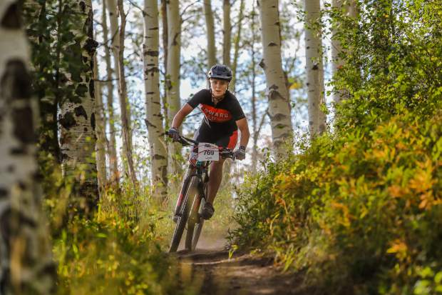 Shannatay Bergeron makes her way down Aspen Alley Trail during the Beaver Creek Blast on Wednesday in Beaver Creek. The medium-length course was 13.5 miles and 3,000 feet of elevation gain.
