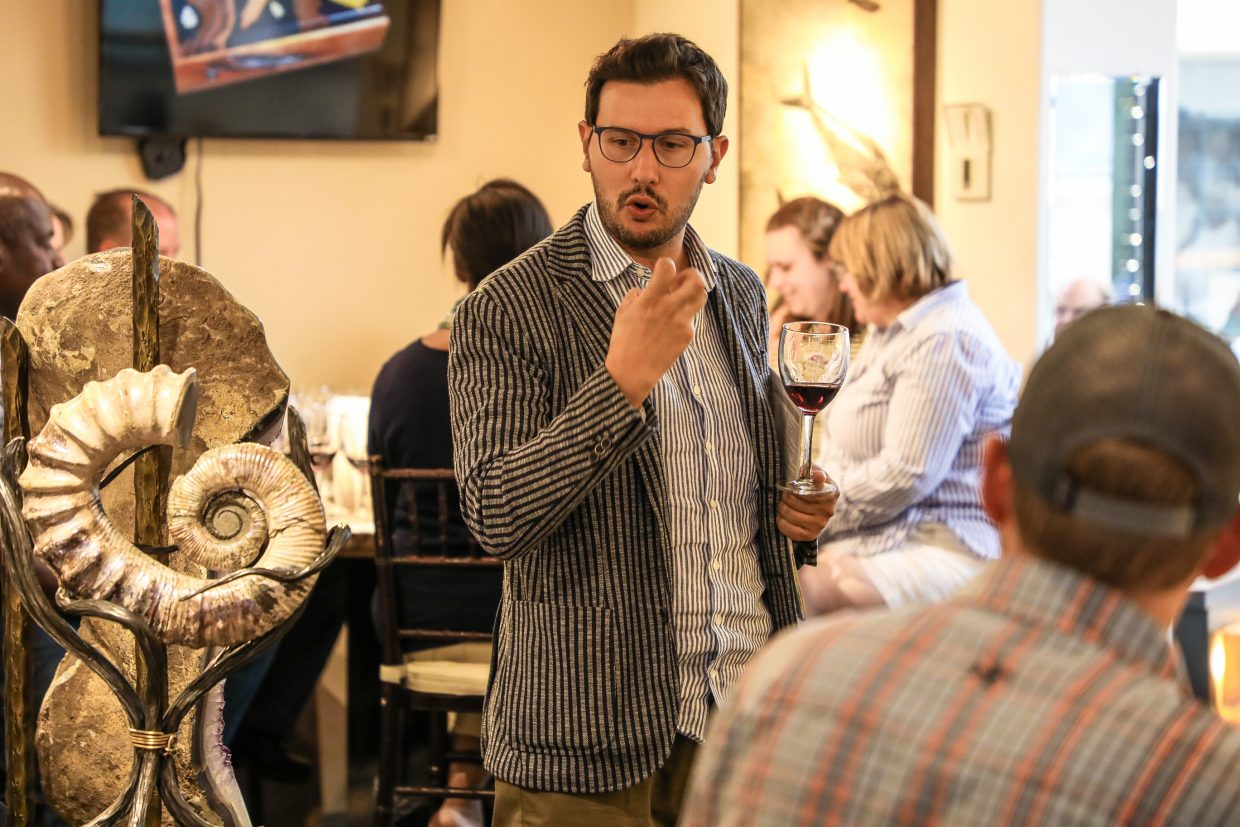 Claudio Viberti or Viberti Winery explains about his wines during the Best of Piedmont for Beaver Creek Wine and Spirits Festival Saturday at By Nature Gallery in Beaver Creek.The Viberti winery has been in his family since the early 1900s. The event wraps up Sunday.
