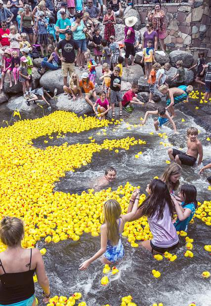 The Vail Rotary Duck Race finish area is full of happy children playing in the Gore Creek and watching as over 12,000 rubber ducks race down the Gore Creek in Vail Village. The cost to adopt a duck is $10, with packages of three, five, nine or a fleet of 20 also available.