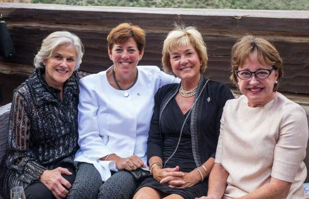 Carol Coletti, Cheryll Hobart, Martha Rehm and Priscilla King enjoy the beautiful patio at The Ritz Carlton at Bachelor Gulch.