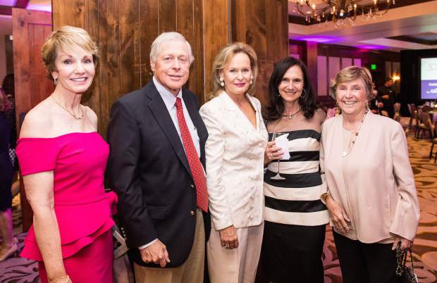 Jeanne Gustafson, Jack and Kathleen Eck, Michele Resnick and Marty Head celebrate at the 30th Bravo! Vail Gala.