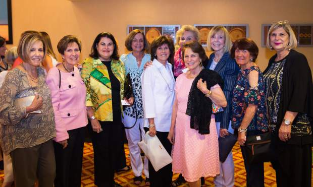 Pat Lieberman, Mary Quartin, Rose Marcus, Adrienne Jacobson, Michele Stone, Marilyn Zinn, Mikki Futernick, Judi Mckean, Madeline Brand and Lynn Rose support the Vail Breast Cancer Awareness Group at its annual luncheon.