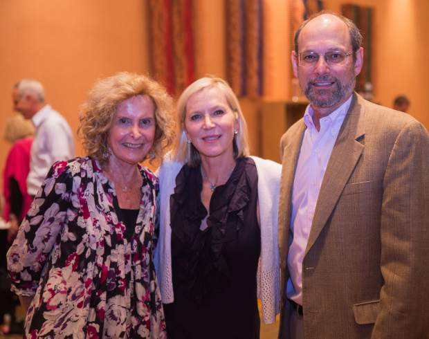 From left, Vail Breast Cancer Awareness Group founder Brenda Himelfarb, speaker and activist Lee Woodruff and Starting Hearts executive director Alan Himelfarb enjoy the annual Celebration of Life Luncheon.