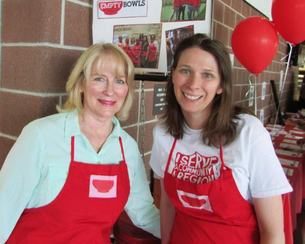 Anne Anderson and Liz Bankert volunteered their time to help out at the Empty Bowls event, supporting the Vail Valley Salvation Army.