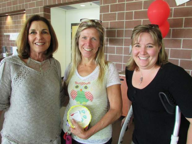 Debbie King, Kim Blackford and Megan McGee Bonta enjoyed the homemade food at Empty Bowls in Edwards.