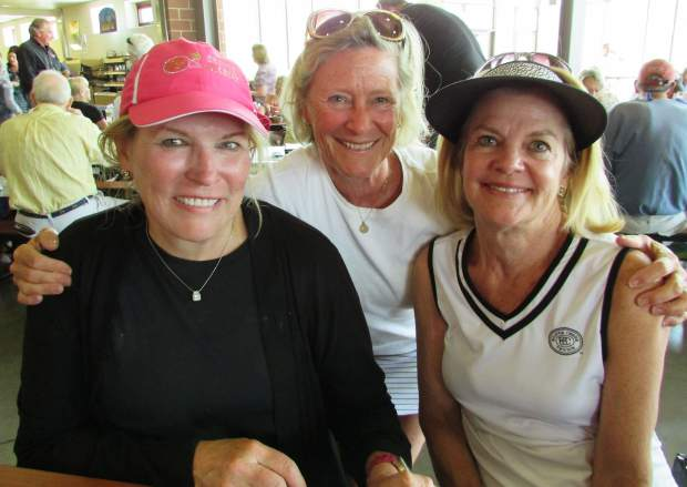 Leila Thorne, Sally Austen and Shirley Day headed over to eat at the Empty Bowls event after tennis.