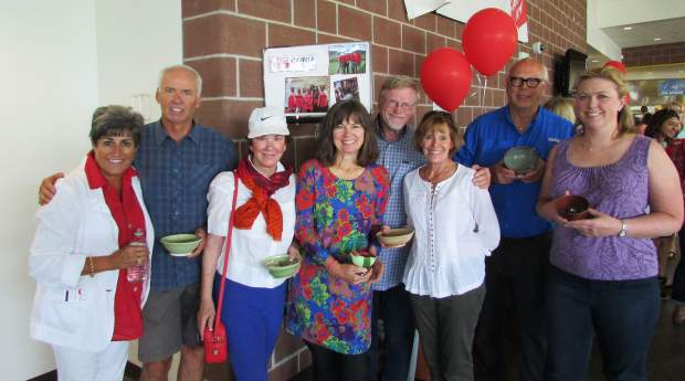 Ralph and Kathy Dockery, Tsu Wolin-Brown, Pat Hamilton, Dave Haakenson, Sue Eves, Pelle and Tessa Eklund helped run the Empty Bowls event at Battle Mountain High School.