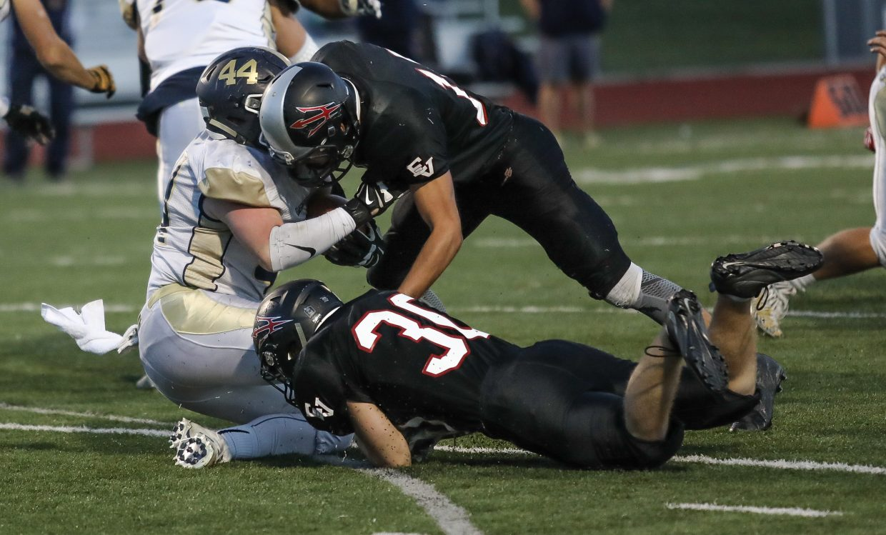Eagle Valley's defense stuffs Evergreen Friday, Sept. 22, in Gypsum.