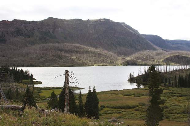 Here's a view of Trappers Lake in the Flat Tops Wilderness, the
