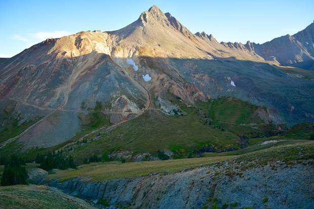 Matterhorn Peak, a mountain in the San Juan Range, getting the last bit of sunshine on a cool September evening.
