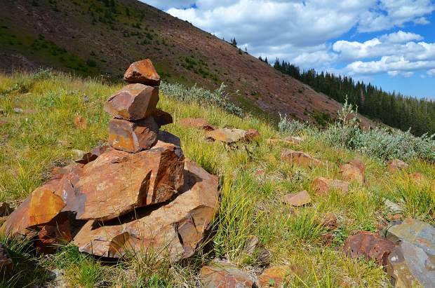 One of the many rock stacks, called cairns, seen along the trail through the Uncompahgre Wilderness outside Lake City, Colorado.
