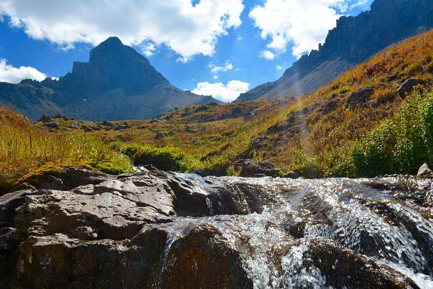 A healhty, swift-moving stream in Wetterhorn Basin and a great water source for backpackers in the Uncompahgre Wilderness.