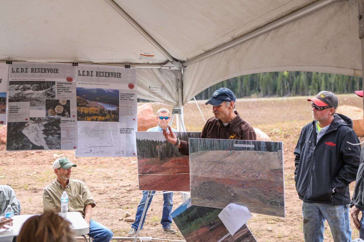 Jim Hancock, Gypsum Town Engineer, gives a presentation on the new specifications of the L.E.D.E Reservoir and dam Thursday, Sept. 14, in Gypsum. The reservoir expanded from 25 to 32-surface-acres, making it comparable to Sylvan Lake.