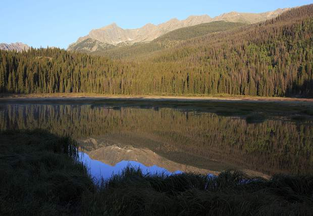 The view of the Gore Range mountains from Boulder Lake in the Eagles Nest Wilderness near Silverthorne.