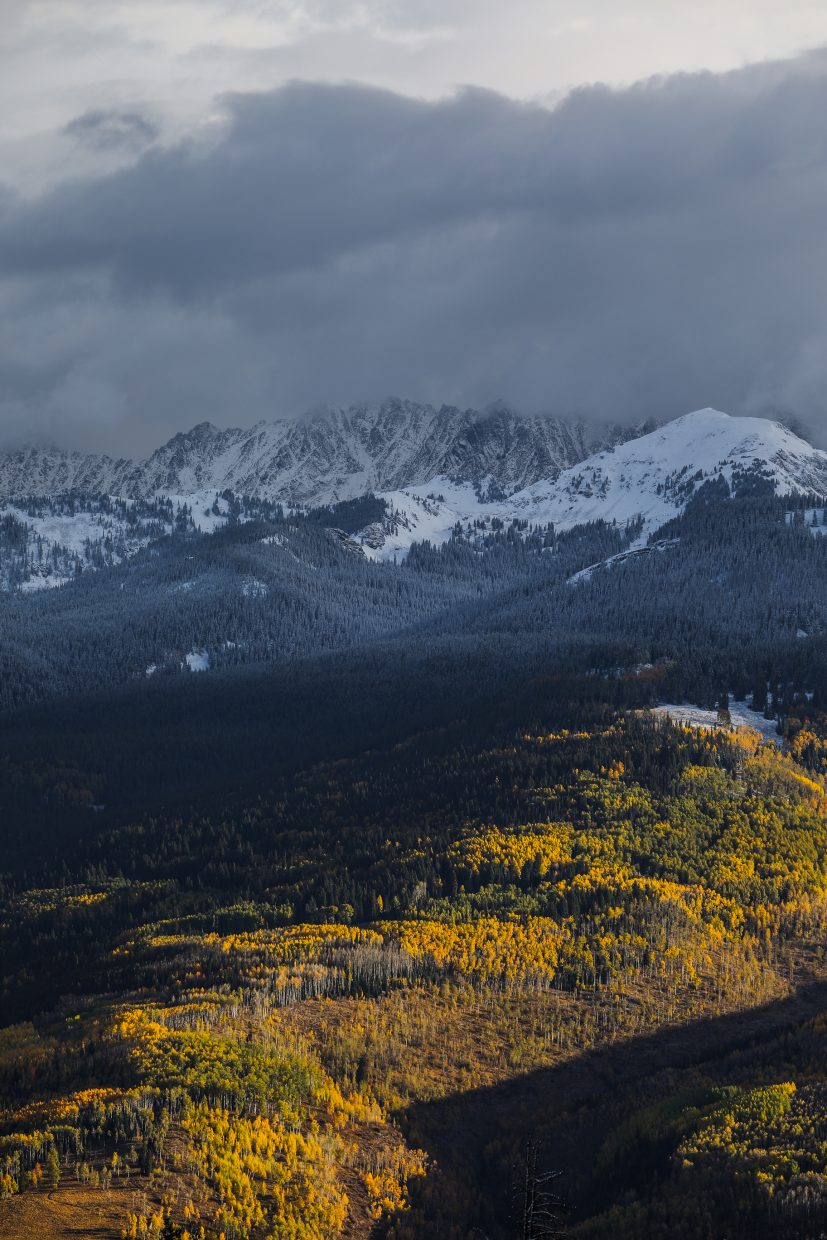Gore range, color and new snow Sunday, Oct. 1, in Vail.
