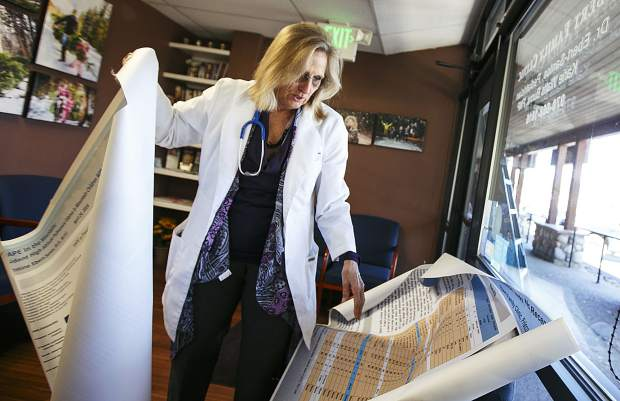Dr. Christine Ebert-Santos, MD, shows off two posters she's produced and presented on high-altitude pulmonary edema while inside the Ebert Family Clinic in Frisco on Tuesday, Oct. 10. The longtime Summit County pediatrician continues to plead her case for the disorder presenting even withinfull-time residents.