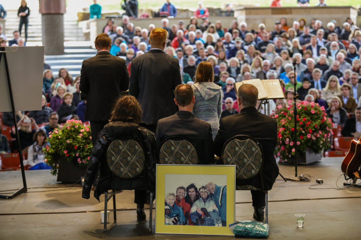 Family members speak to the audience that came to pay their respects to Byron Brown during his memorial Friday, Sept. 29, in Vail. Brown was 86-years-old when he passed away.
