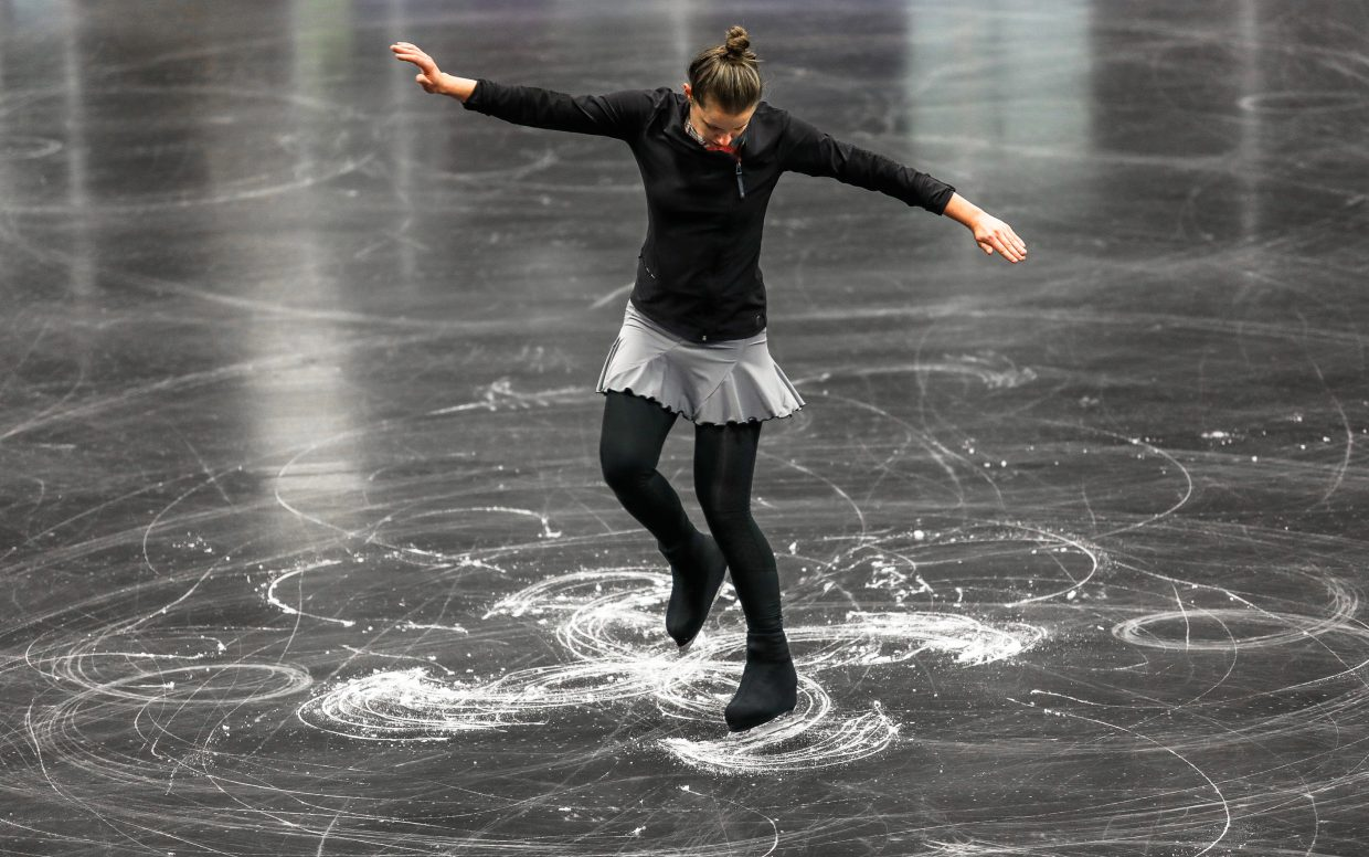 Sarah Jo Damron-Brown skates a Maltese Cross during the World Figure Championships Saturday, Sept. 30, at Dobson Ice Arena in Vail. The figure has only been performed twice in competition.