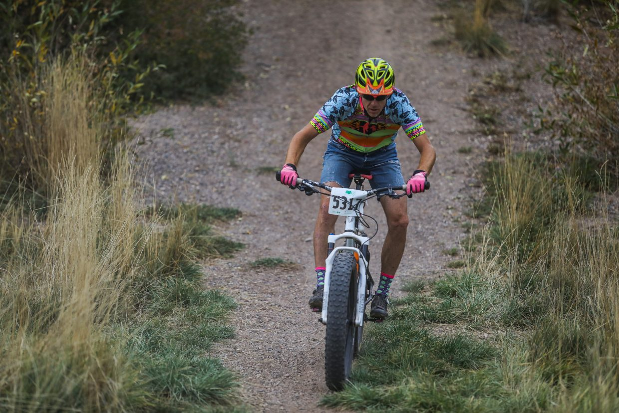 Randy Tuttle makes his way down a hill during the Vail Recreation District's Cyclocross race Wednesday, Sept. 27, in Eagle. Racers had to make their way around a multitude of obstacles.