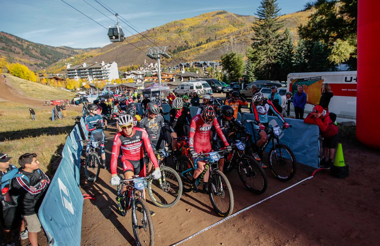 Riders start the Scott Sparks XC for the Outlier Offroad Festival Saturday, Sept. 30, in Vail.