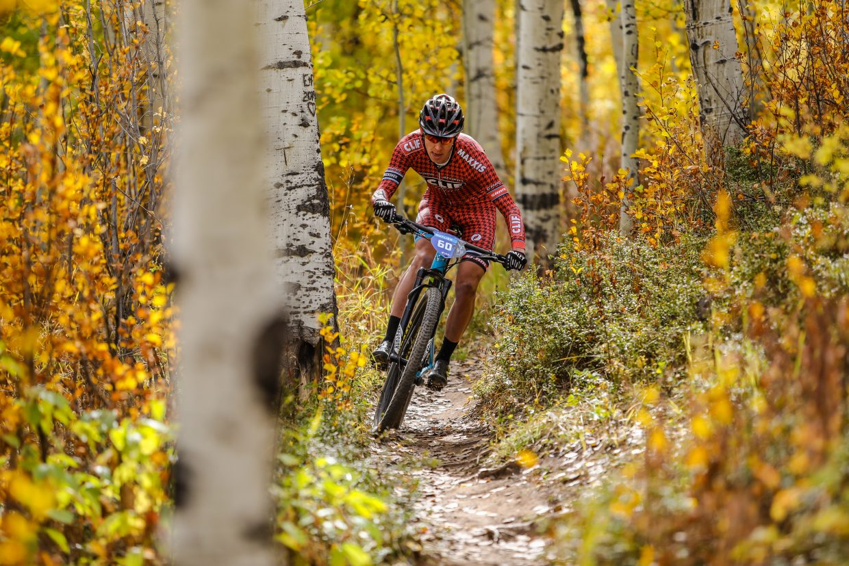 Benjamin Sonntag weaves through the aspens on Strawberry Lane Trail during the Scott Spark XC during the Outlier Offroad Festival Saturday, Sept. 30, in Vail. Along with races, the festival allows the public to demo a variety of different bikes and products, many of which haven't hit the market yet.