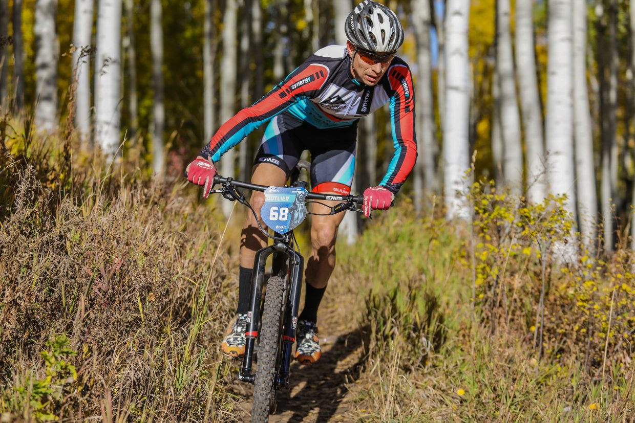 Local Josiah Middaugh works the downhill portion of the Scott Spark XC race during the Outlier Offroad Festival Saturday, Sept. 30, in Vail. Middaugh took third.