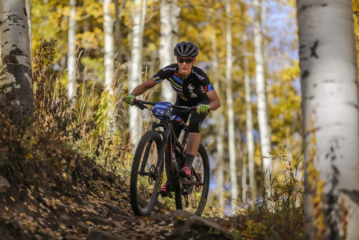 Sparky Moir Sears prepares for a steeper downhill section of Onza Alley for the Scott Spark XC race Saturday, Sept. 30, in Vail. The festival is three days in Vail.