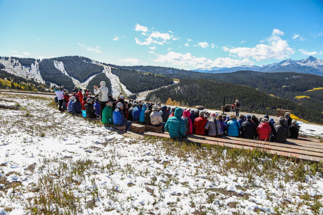 People gather for the Vail Pioneer Weekend memorial at the top of Lionshead Sunday, Spet. 24, in Vail.