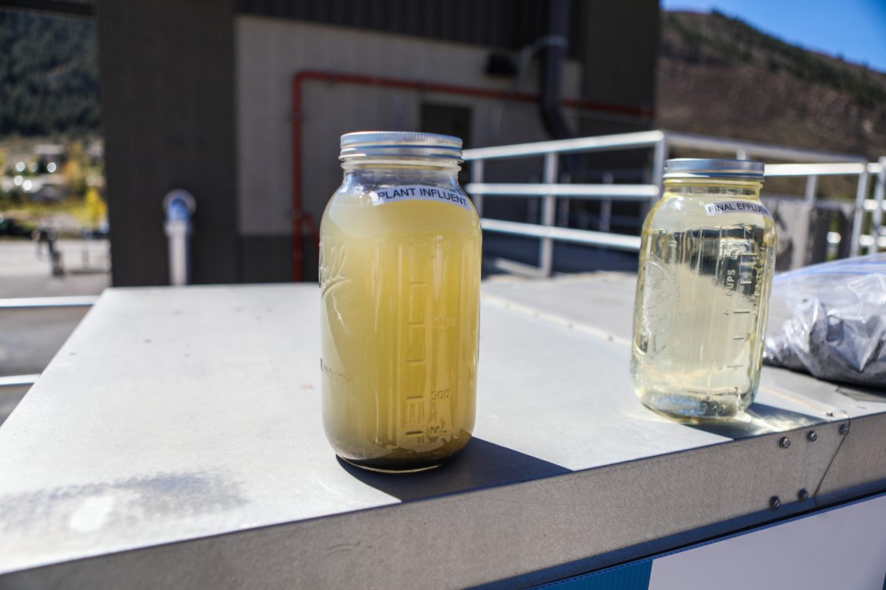 Examples of water coming into the plant versus leaving the plant during the open house of Eagle River Water and Sanitation's new water treatment facility Tuesday, Sept. 26, in Edwards. The goal of the plant upgrades was to limit the discharge of too many harmful nutrients back into the ecosystem.