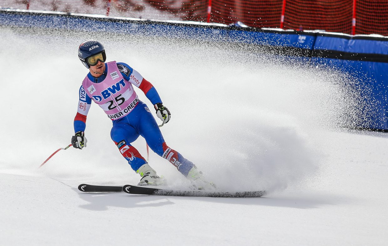 Jared Goldberg, USA, crosses the finish of the Downhill course during training for Birds of Prey World Cup Wednesday, Nov. 29, in Beaver Creek.