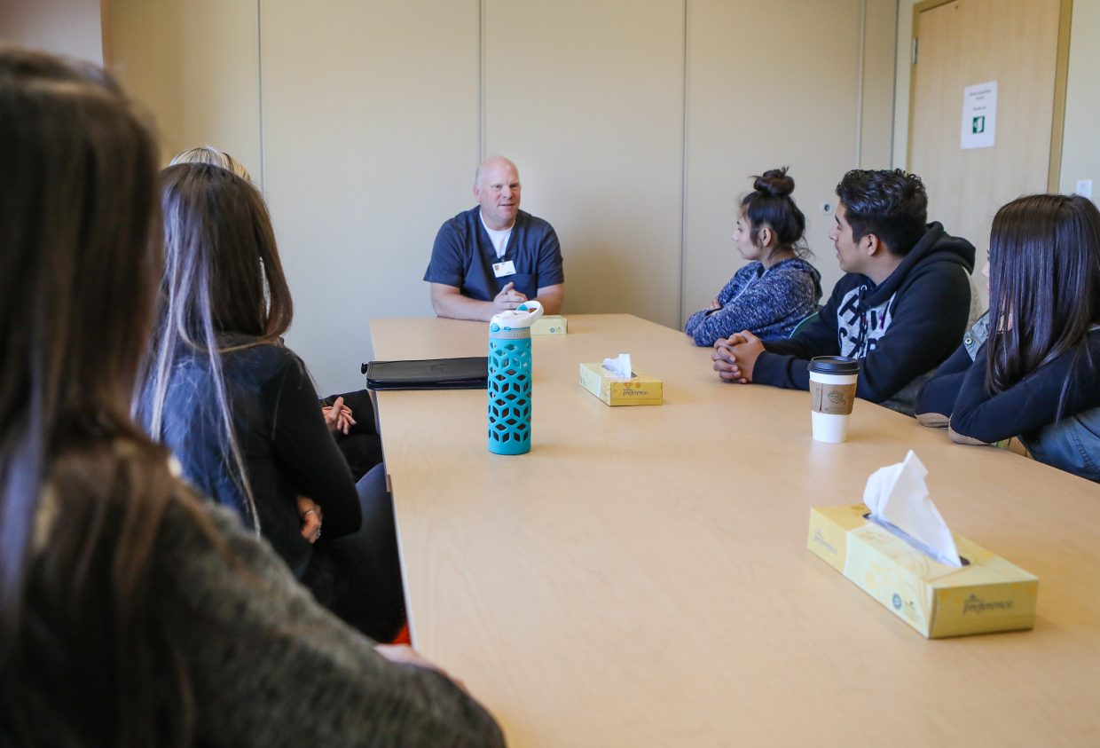 Jon Damon, Clinical Supervisor in Eagle, talks to the Career X students about his history on how he ended up in the medical field during the student's job shadow Thursday, Nov. 9, in Avon. During the 2016-2017 school year, 59 Career X students completed internships and 150 students participated in 10 various job shadows. During the fall semester of the 2017-2018 school year, there are currently 59 interns and 11 job shadows with 160 student participants in the two schools.