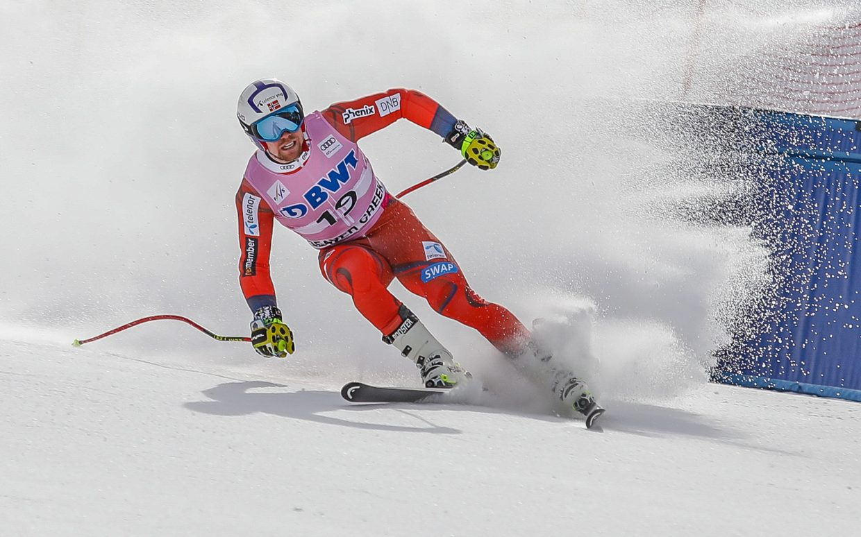 Aamodt Aleksander, Norway, Kilde crosses the finish after his training run for the Downhill race for Birds of Prey Wednesday, Nov. 29, in Beaver Creek. The Downhill race takes place Saturday, Dec. 2.