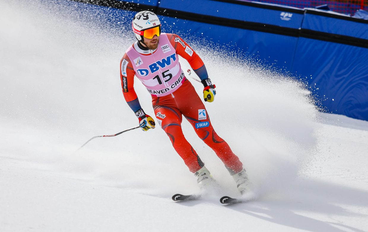 Kjetil Jansrud, Norway, crosses the finish during Downhill training for Birds of Prey Wednesday, Nov. 29, in Beaver Creek.