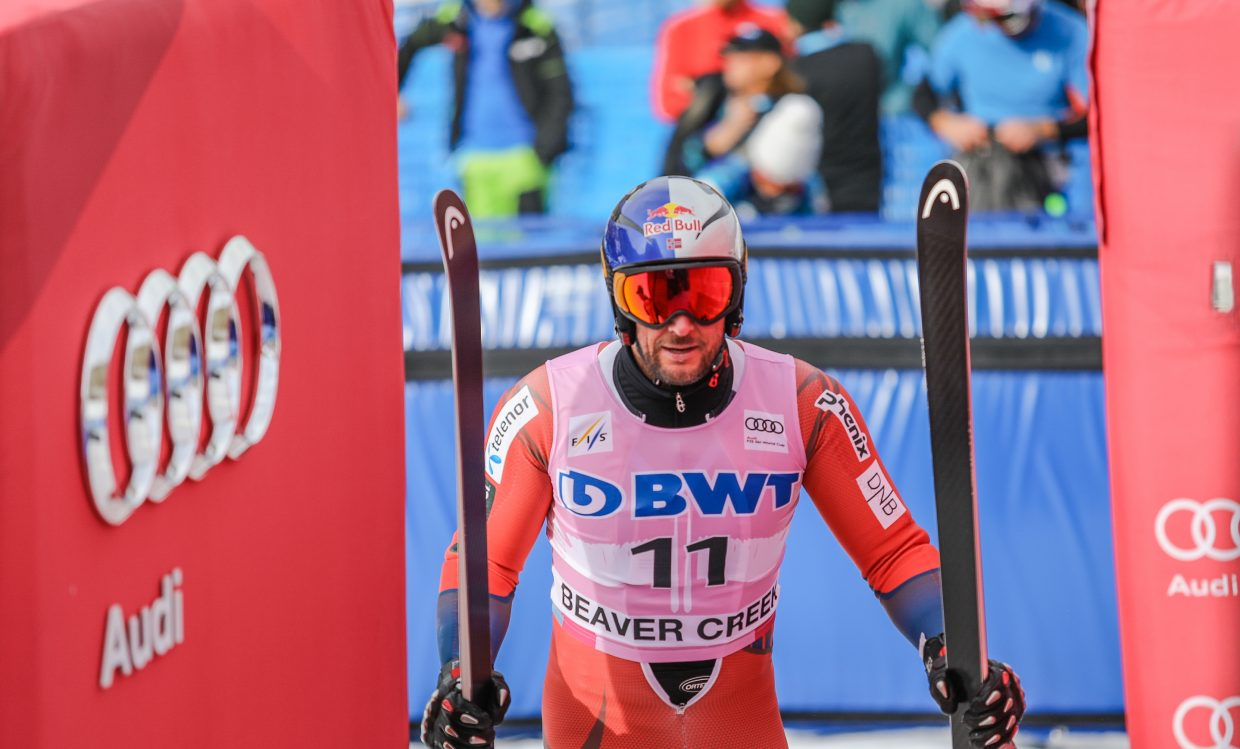 Askel Lund Svindal, Norway, after completing his Downhill training run for the Birds of Prey World Cup Wednesday, Nov. 29, in Beaver Creek.