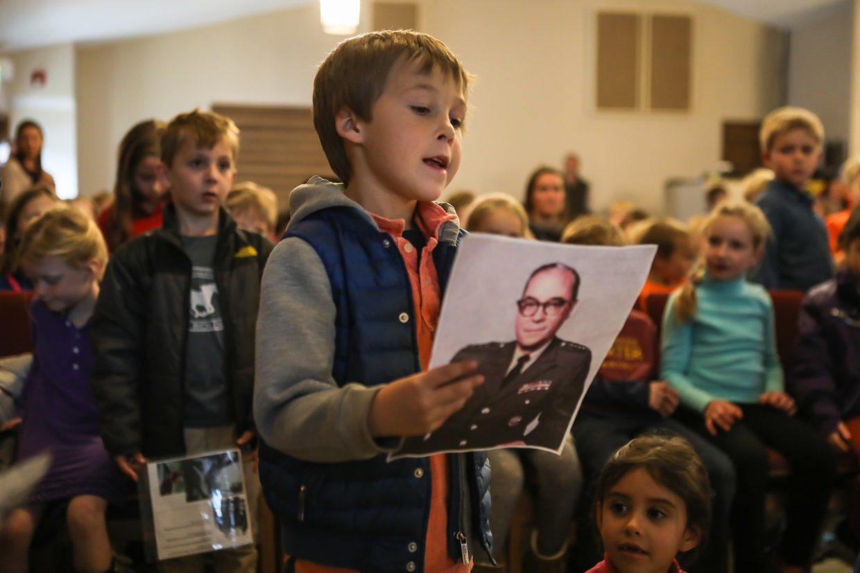Ethan Currant explains about his relative, who was a four star Army general, during the Veterans Day program Tuesday, Nov. 7, at Stone Creek Charter School in Edwards. Kids with family members who are veterans explained to the veterans on hand about their family.