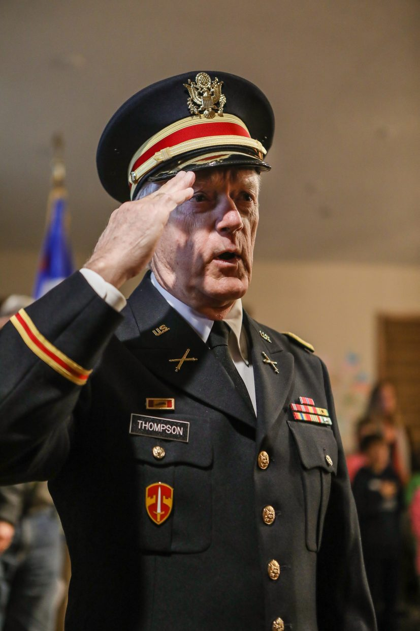Peter Thompson, commander of the Veterans of Foreign Wars Post 10721, salutes the flag during the Veterans Day program Tuesday, Nov. 7, in Edwards. The program brought in veterans from all branches of the military.
