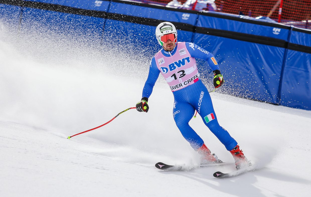 Peter Fill, Italy, makes his way across the finish during the Downhill training run for Birds of Prey World Cup Wednesday, Nov. 29, in Beaver Creek.