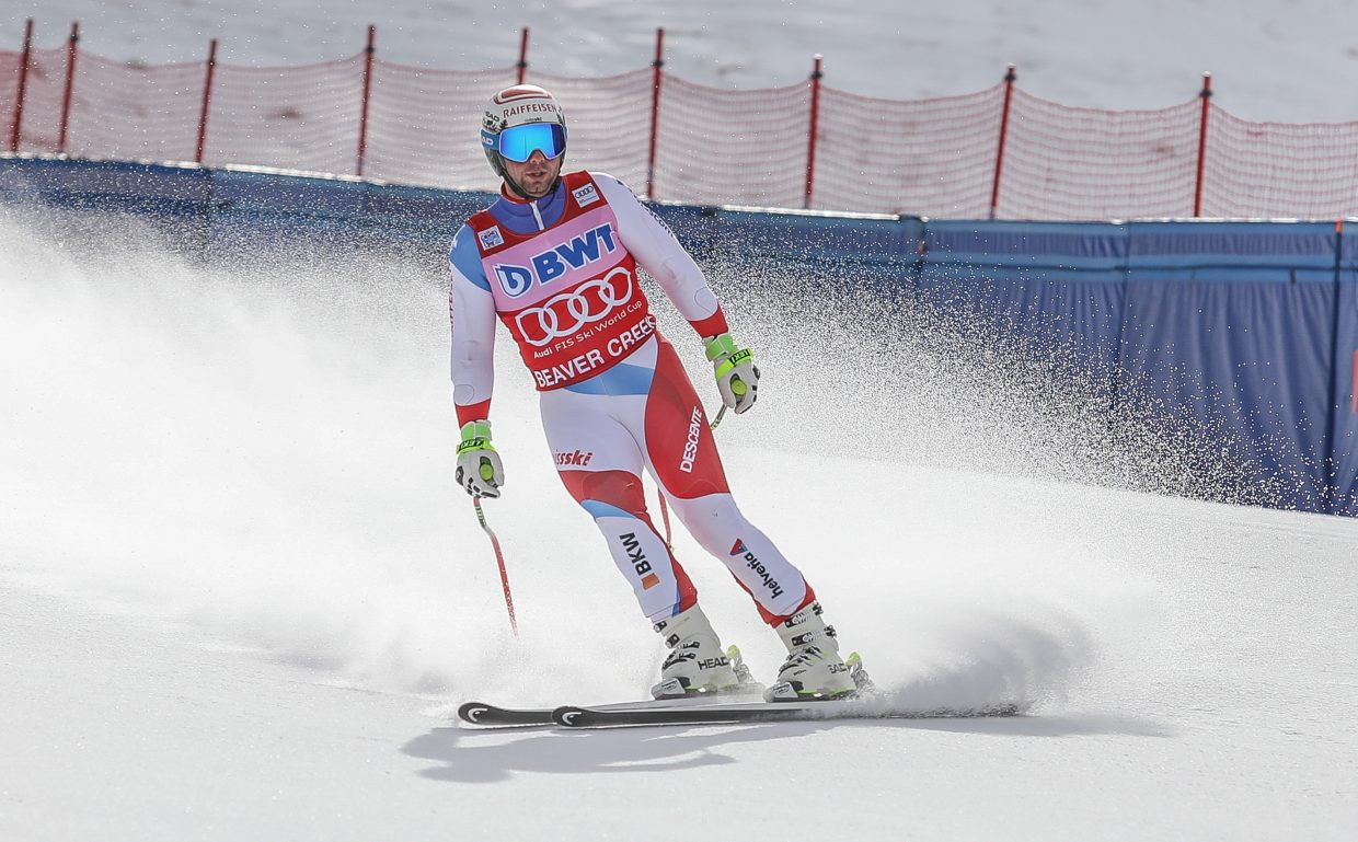 Beat Feuz, Switzerland, crosses the finish after his Downhill training run for Brids of Prey World Cup Wednesday, Nov. 29, Beaver Creek. The Downhill race takes place Saturday, Dec. 2.