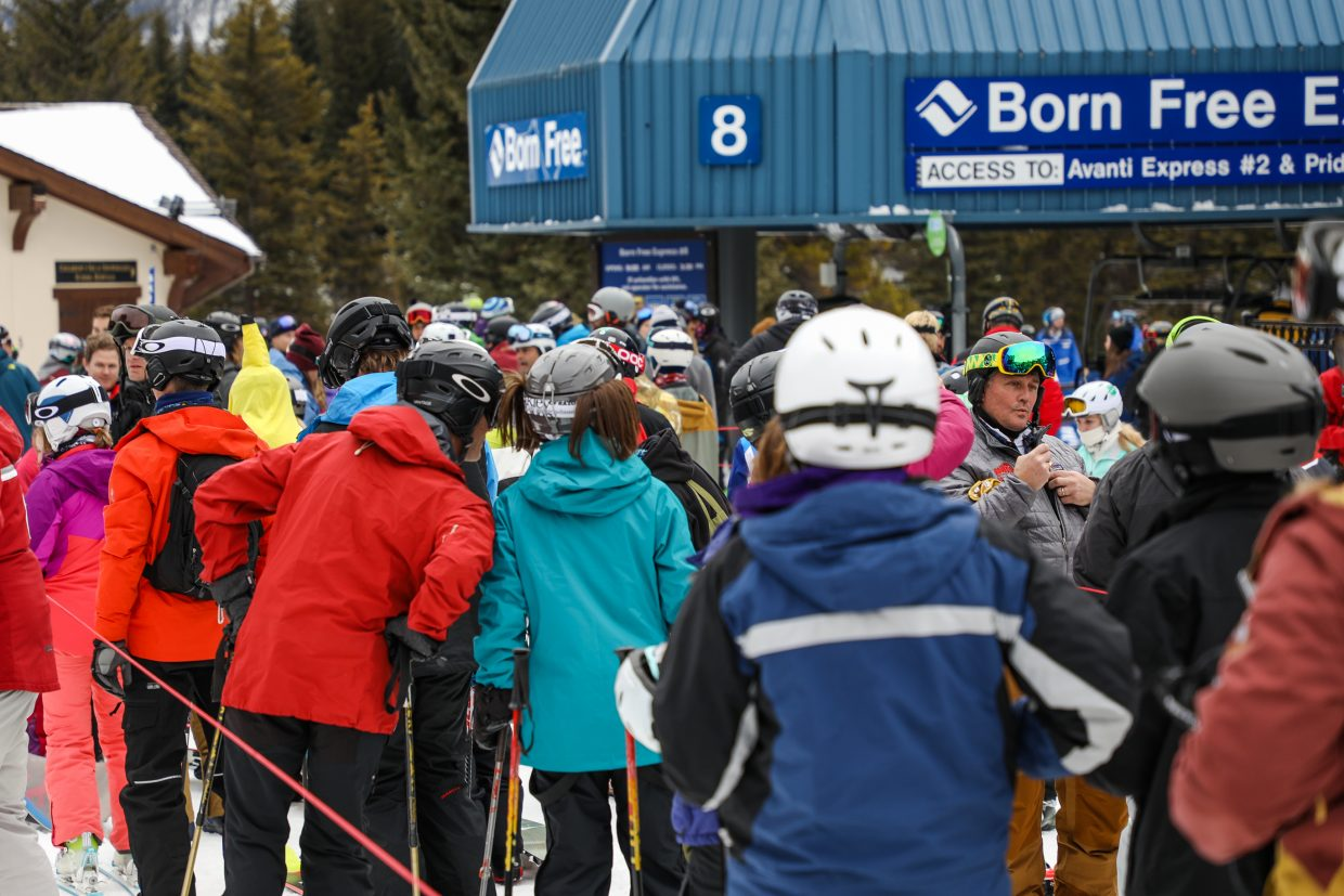 People wait in line for the first day of the 2017-2018 season at Vail Mountain Saturday, Nov. 22, in Vail.