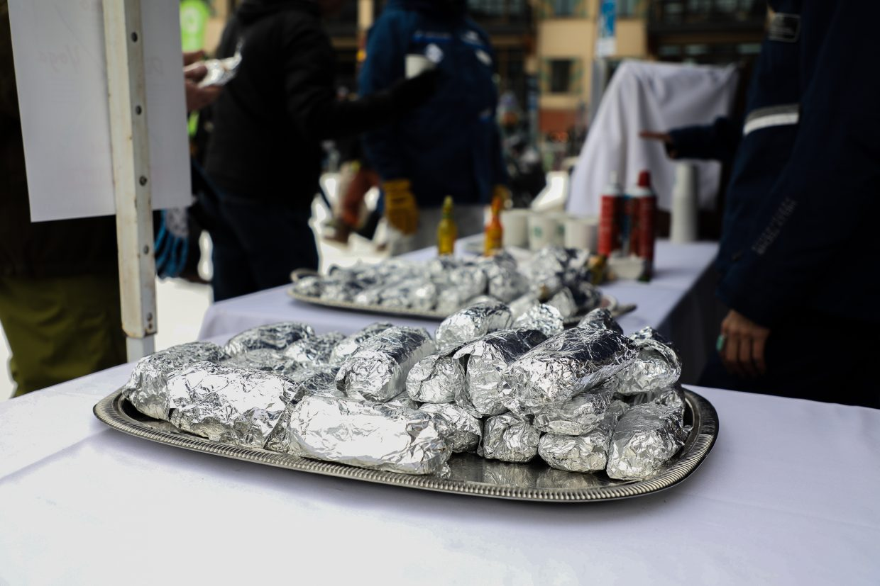 Breakfast burritos are always a part of Vail Mountain's Opening Day Wednesday, Nov. 22, in Vail. Along with burritos, hot chocolate and swag was also handed out to guests.