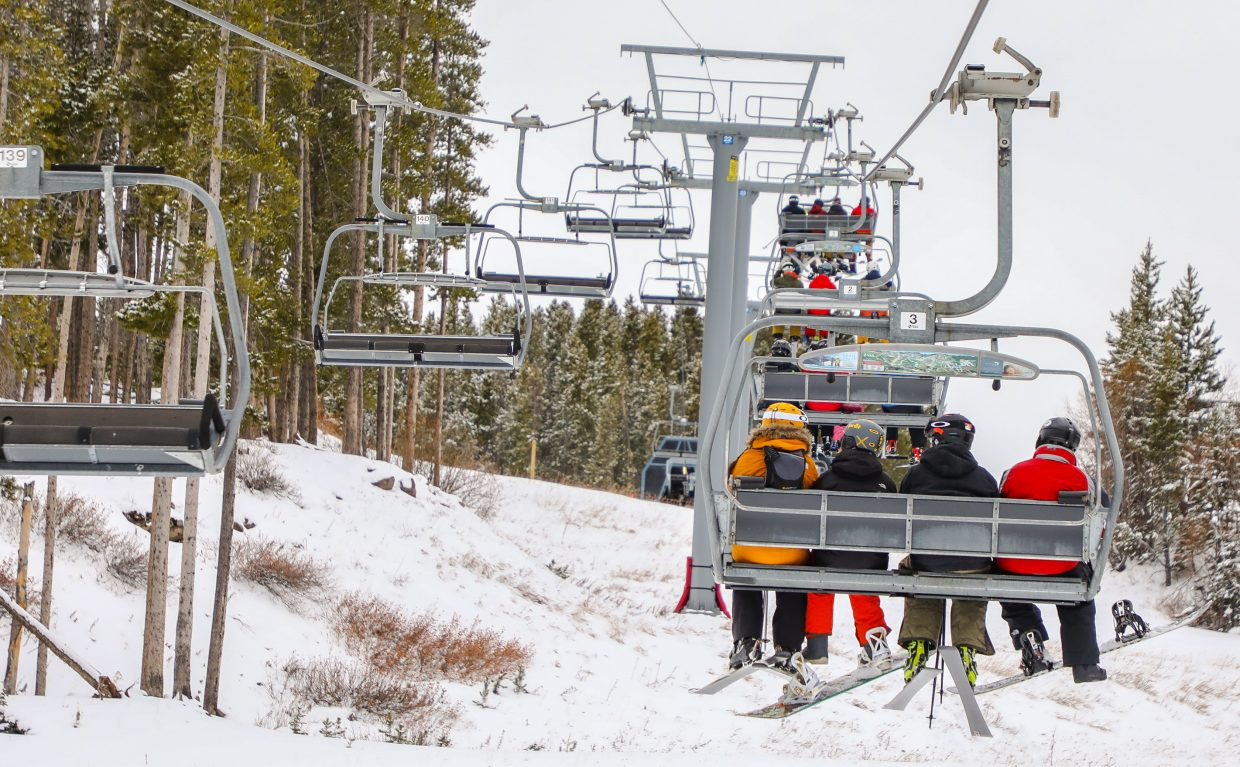 The lifts are full of skiers and snowboarders for Vail's Opening Day Wednesday, Nov. 22, in Vail.