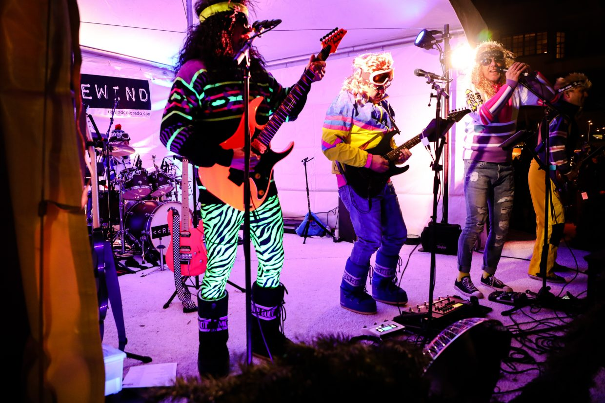 The 80s band Rewind plays for the 80s party during the kickoff for the Birds of Prey World Cup on Thursday, Nov. 30, in Beaver Creek.