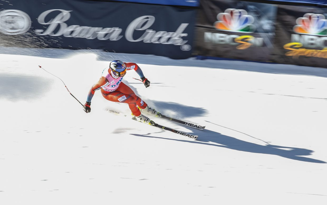 Aksel Lund Svindal, of Norway, finishes his winning Downhill run for the Birds of Prey World Cup on Saturday, Dec. 2, in Beaver Creek.